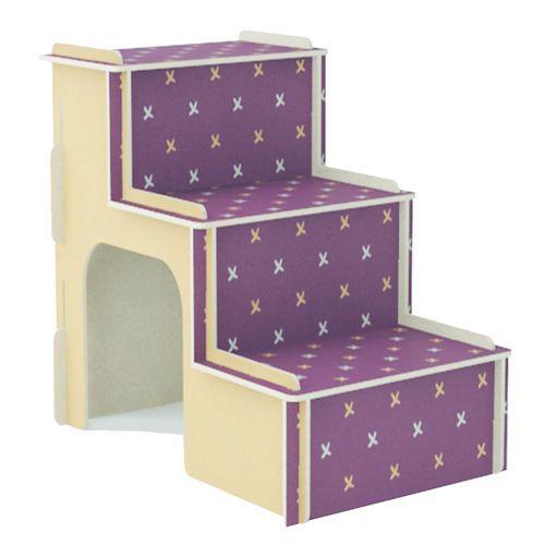 Escada MDF Para Cachorro e Gatos - Roxo X