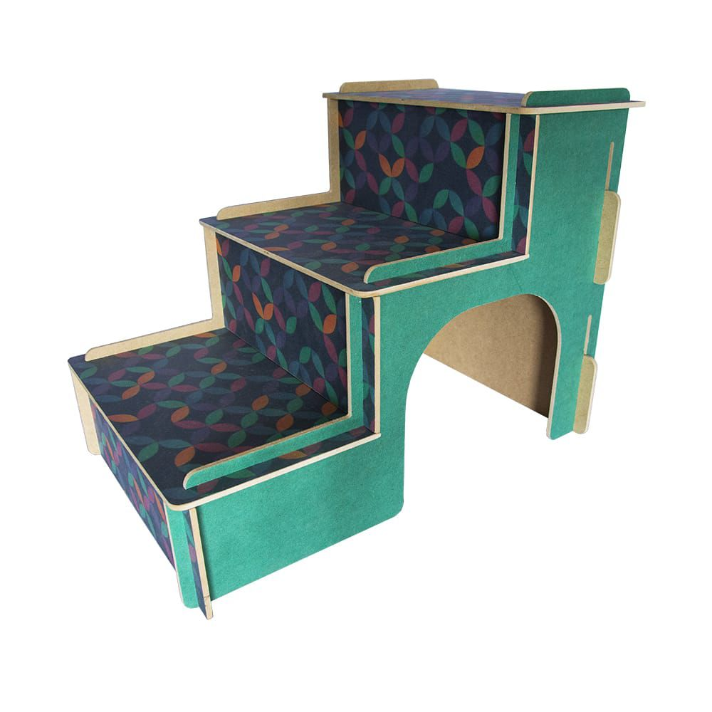 Escada MDF Para Cachorro e Gatos - Verde Ladrilho