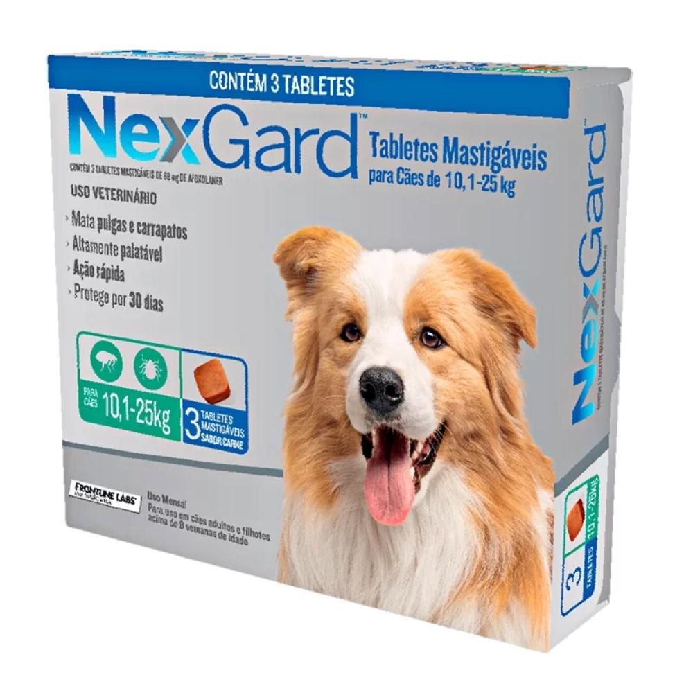 Antipulgas E Carrapatos Nexgard Para Cães De 10,1 a 25 Kg Com 03 Tabletes