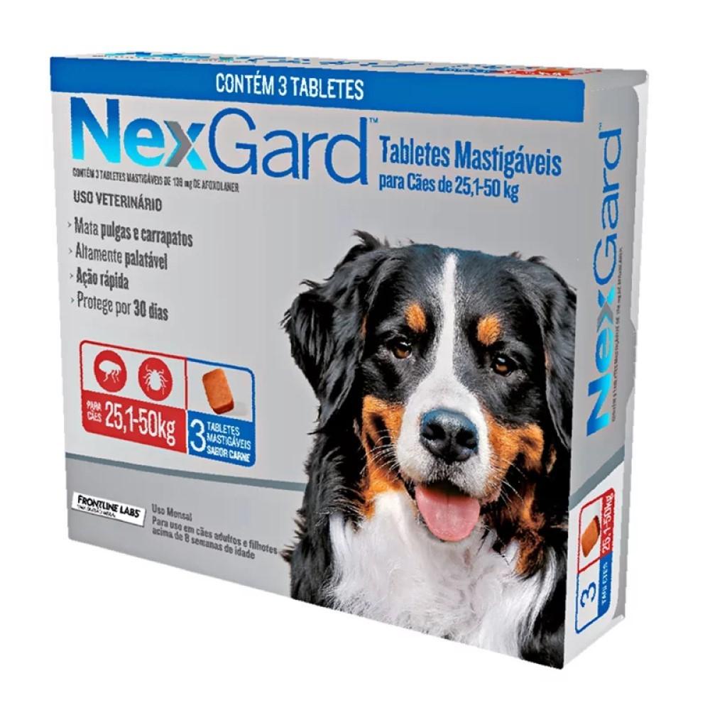 Antipulgas E Carrapatos Nexgard Para Cães De 25 a 50Kg Com 03 Tabletes