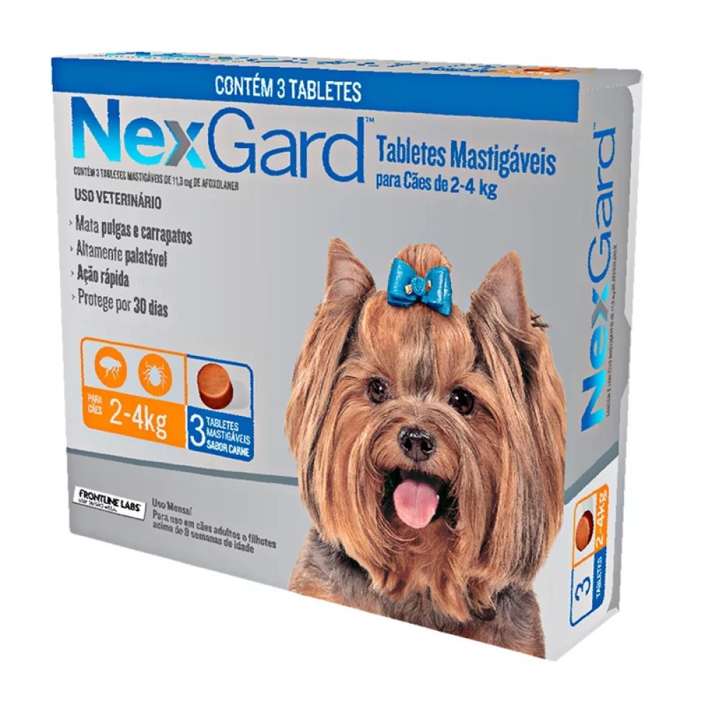 Antipulgas E Carrapatos Nexgard Para Cães De2 a 4Kg Com 3 Tabletes