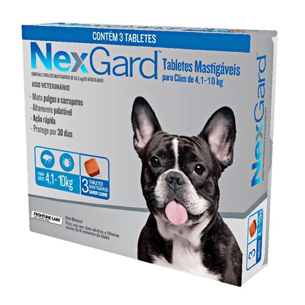 Antipulgas E Carrapatos Nexgard Para Cães De4 a 10Kg Com 3 Tabletes