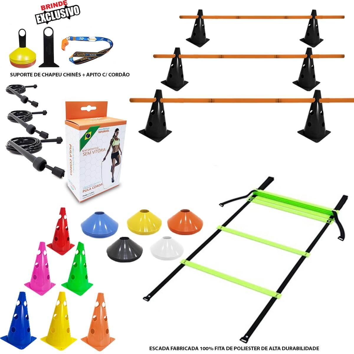 10 Cones c/ Barreira +10 Pratos + Escada Agilidade +3 Cordas