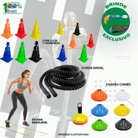 10 Cones Furados Barreira + 10 Pratos + Escada + Corda Naval