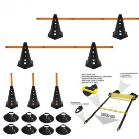 6 Cones Furados c/ Barreira + 6 Pratos + Escada Agilidade
