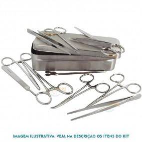Caixa para Pequenas Cirúrgias em Aço Inox 13 Itens