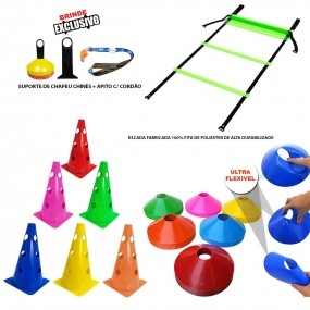 Kit 10 Cones Furado + 10 Pratos Funcional + Escada Agilidade