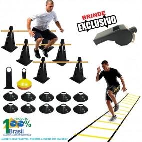 Kit 10 Cones Furados c/ Barreira + 10 Pratos + Escada Agilidade
