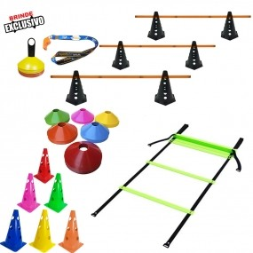 Kit 10 Cones Furados c/ Barreira + 20 Pratos + Escada Agilidade