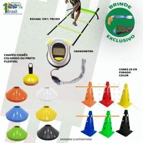 Kit 28 Itens Treinamento Funcional Escada Cones Chapeu Cronometro