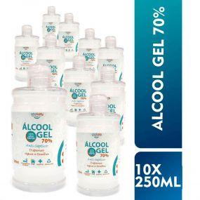 Kit Álcool em Gel 70% 250ml - Antisséptico para As Mãos - 10 Unidades