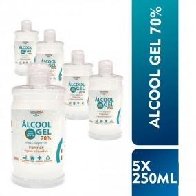 Kit Álcool em Gel 70% 250ml - Antisséptico para As Mãos - 5 Unidades