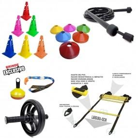 Kit Escada Agilidade +10 Cones +10 Pratos + Roda Funcional