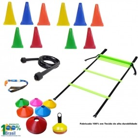Kit Escada + Corda +10 Pratos + 10 Cones P/ Treinamento Funcional