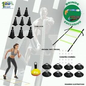 Kit Funcional 33 Itens Escada + Bands + Cones + Chápeu + Kit Extensores + Fita de Suspensão