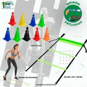 Kit Funcional Cone Furado 20 Peças + 1 Escada