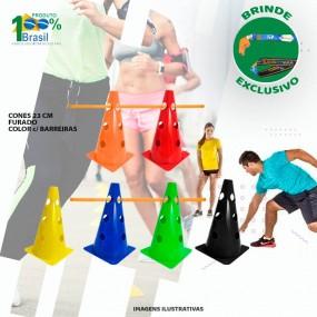 Kit Funcional Cone Furado 8 Peças + Kit 4 Barreiras Treino