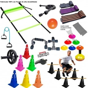 Kit Funcional Escada Cones Chapeu Bola Roda Kit Mini Band