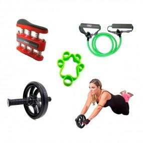 Kit Funcional Exercitador de Dedos + Roda + Extensor Elastico