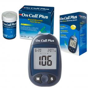 Kit Monitor de Glicemia On Call Plus + 50 Tiras Teste