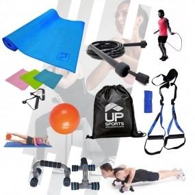 Kit p/ Treinamento Funcional - Colchonete, Bola, Corda, Faixas, Pegador, Fita, Apoio