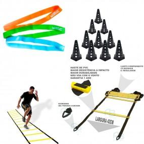 Kit p/ Treinamento Funcional - Escada + 8 Cones + Kit Mini Bands