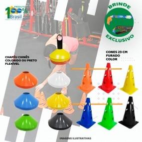Kit Treinamento Funcional 6 Cone 6 Chapeu + Kit 2 Barreiras