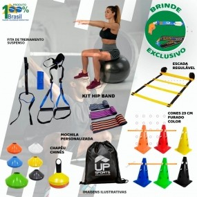 Kit Treinamento Funcional Escada Cones Bola Trx Mini Bands
