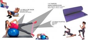 Kit Treinamento Funcional Tapete + Mini Bands + Bola 65cm