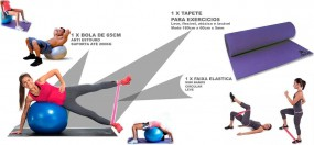 Kit Treinamento Funcional Tapete + Mini Bands + Bola 65cm