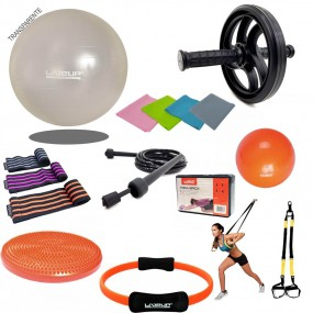 Kit Yoga Pilates c/ 16 Itens Bola Faixa Tipo Thera Bands Overbal Anel