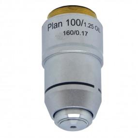 Objetiva Plana-acromática Finita 100x para Microscópio - Óleo - Padrão de Rosca 20mm