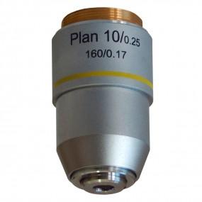 Objetiva Plana-acromática Finita 10x para Microscópio - Seca - Padrão de Rosca 20mm