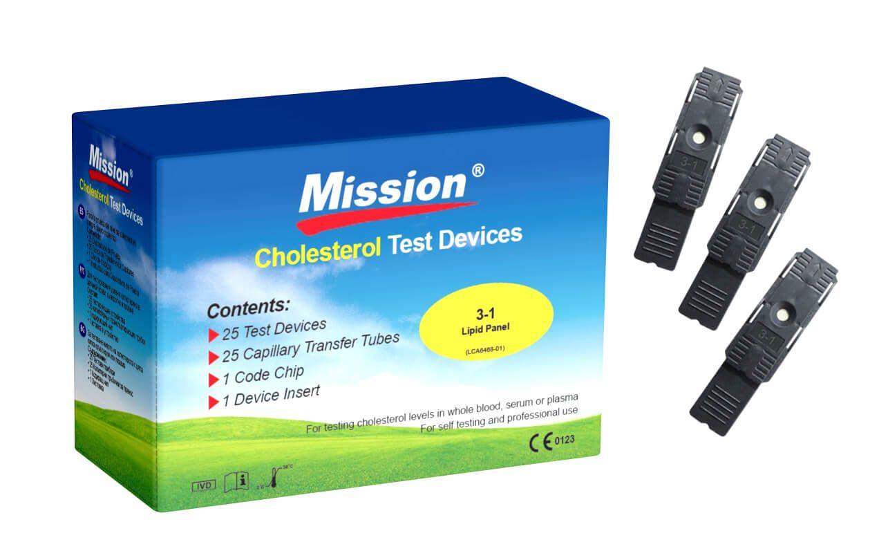 25 Tiras Reagentes Mission Individualizadas para Teste de Perfil Lipídico Completo