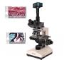 Microscópio Biológico Trinocular com Aumento 40x até 1600x + Câmera de 1.3mp
