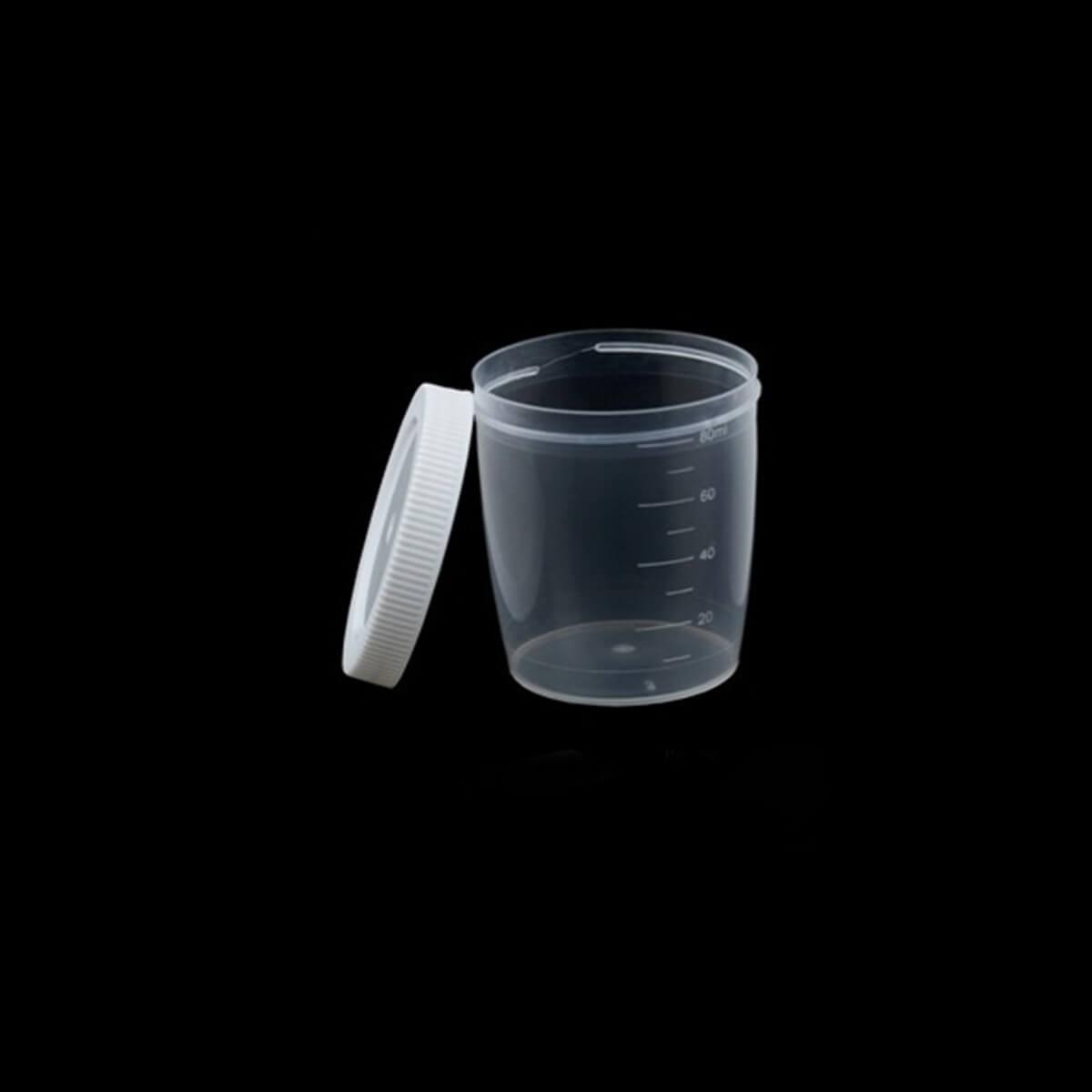 Coletor de Urina 80ml Tampa Branca Caixa 100 Unidades