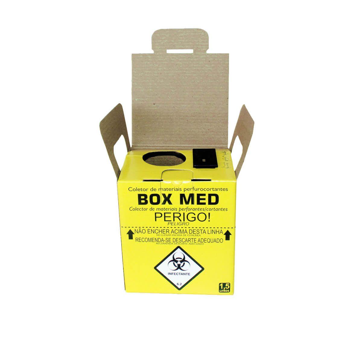 Kit 10 Caixa Coletora para Material Perfurocortante Descartável - Box Med