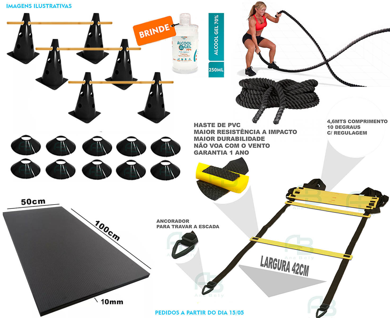 Kit 10 Cones Furado + 10 Pratos + Escada + Corda Naval + Tapete + Barreiras