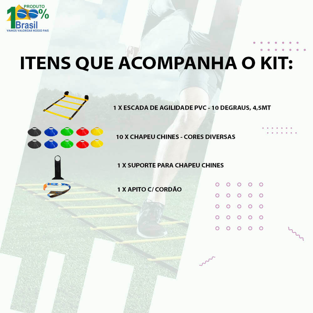 Kit Escada + 10 Pratos p/ Funcional Agilidade ( Chapéu Chines )
