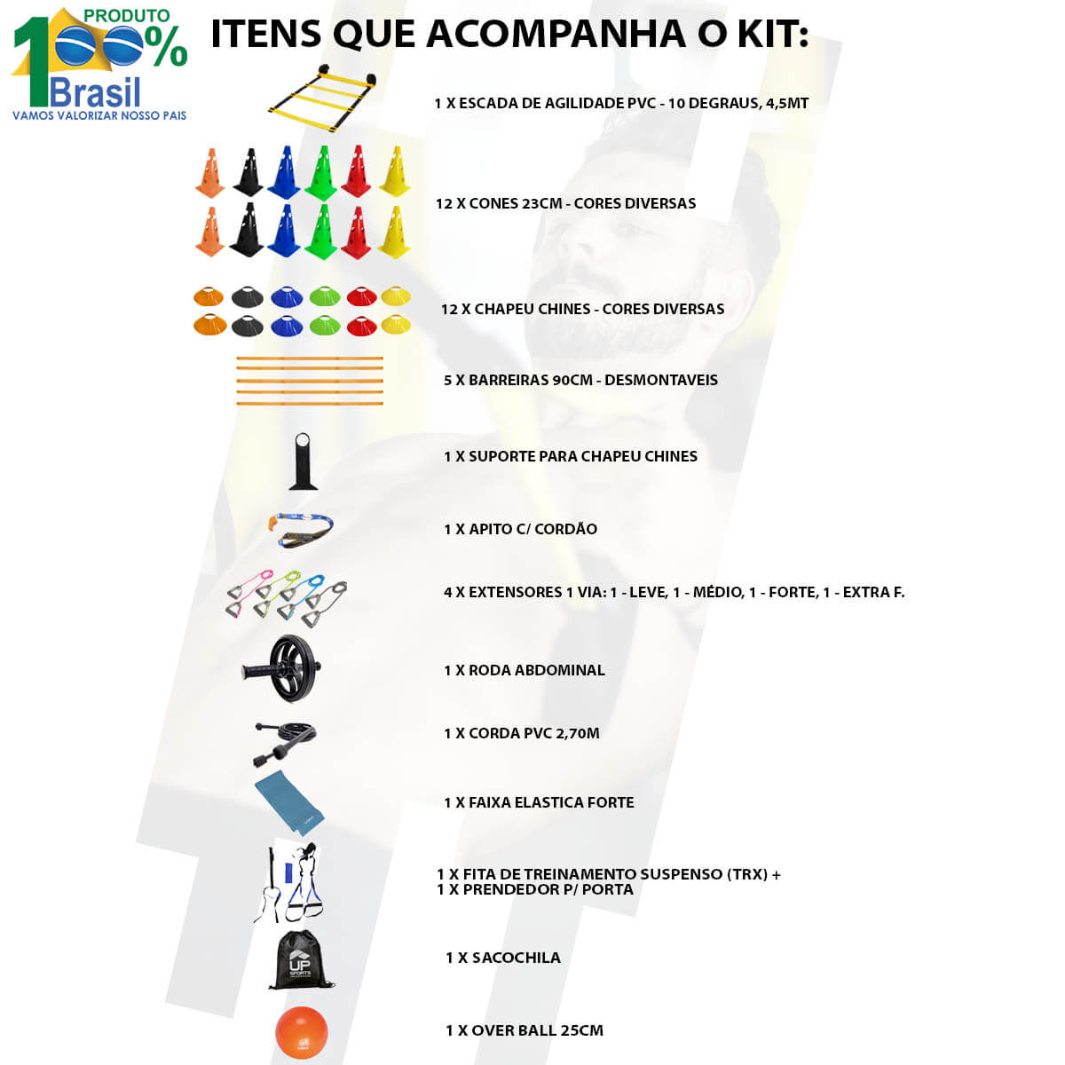Kit Funcional Escada Cones Chapeu Bola Roda Band Extensores