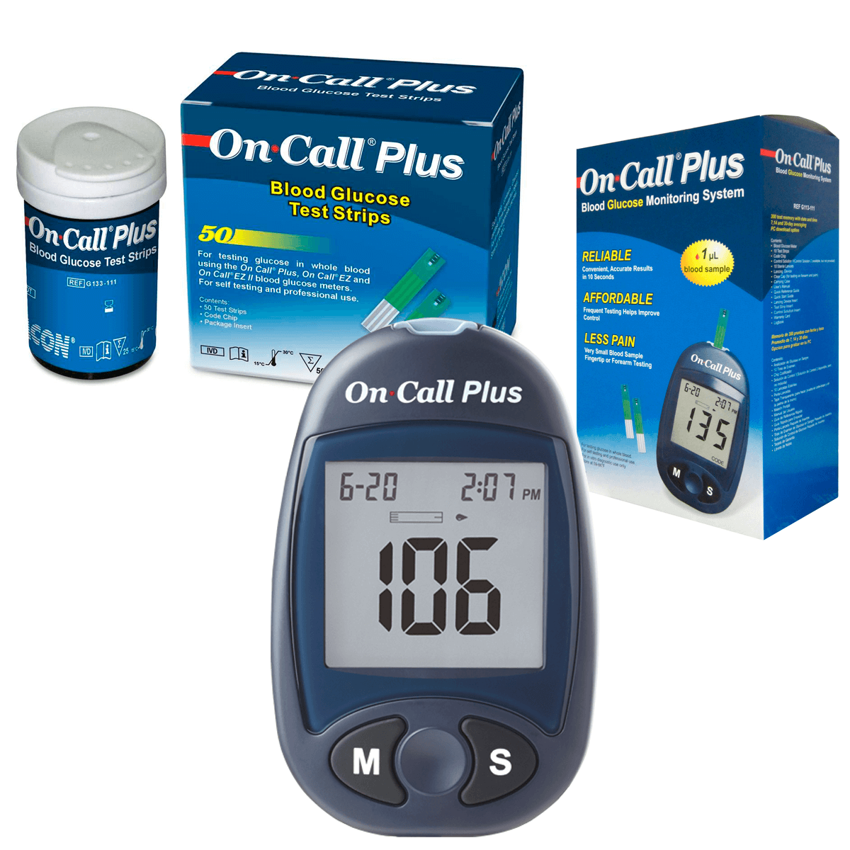 Kit Monitor de Glicemia On Call Plus + 50 Tiras Teste