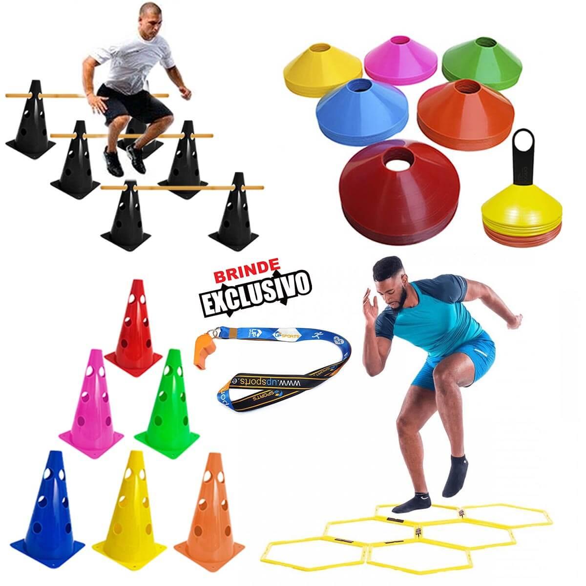 Kit p/ Treinamento Funcional 18 Argolas + 10 Chapeu + 10 Cones + 5 Barreiras