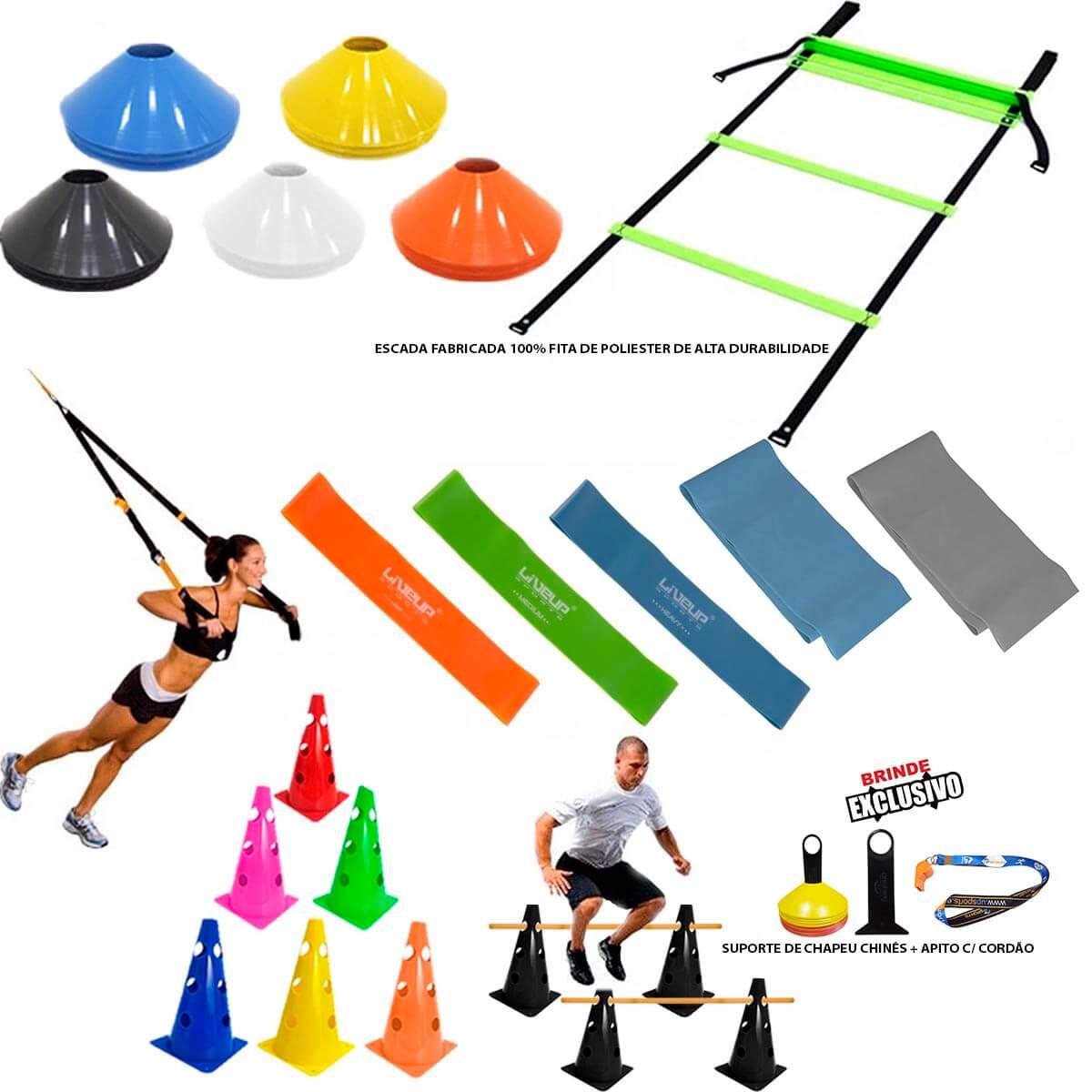 Kit Treinamento Funcional Escada Cones Trx Mini Bands