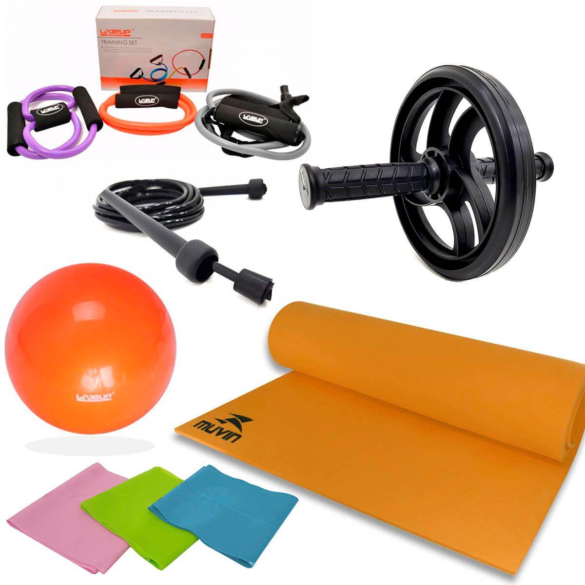 Kit Treinamento Funcional Roda + Corda + Tapete + Faixas + Extensores + Overball