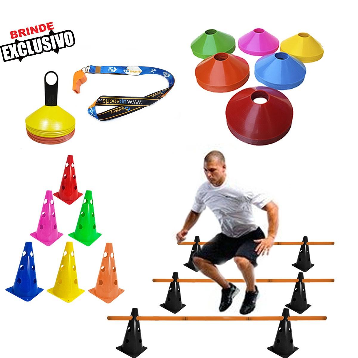 Kit Treino Funcional 10 Cones c/ 23cm + Barreira + 10 Pratos