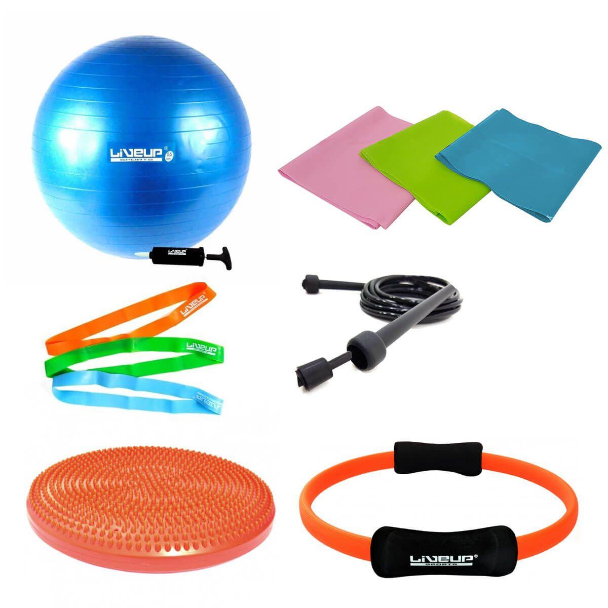 Kit Yoga Pilates c/ 11 Itens Bola Thera Band Disco E Anel