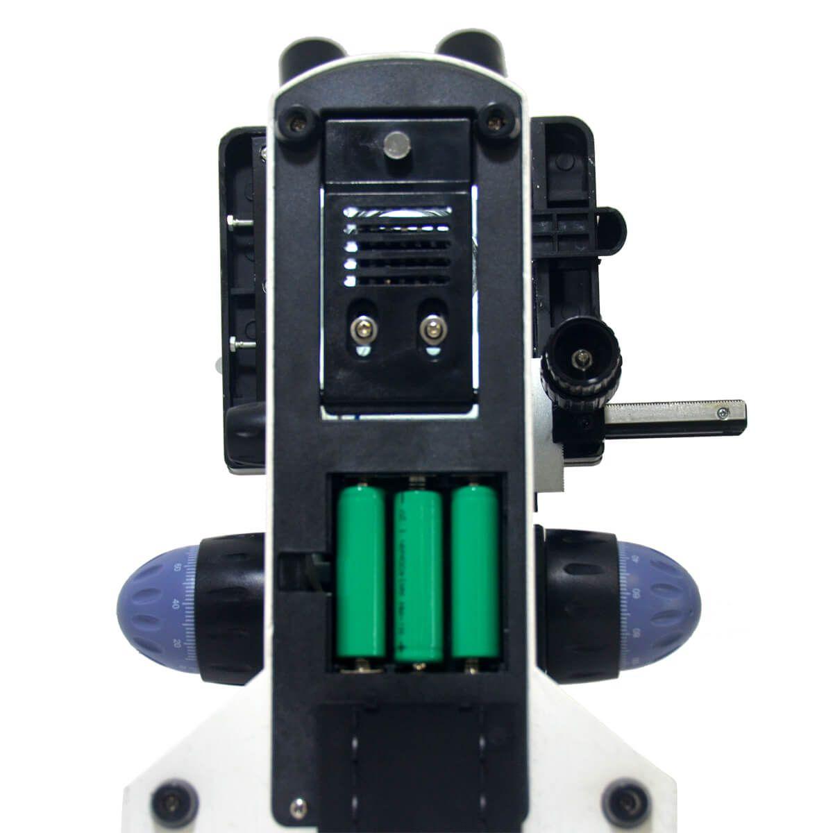 Microsc. Biológico Binocular de 40x até 1000 Ou 2000x, Iluminação Led E Suporte para Bateria Recarregável