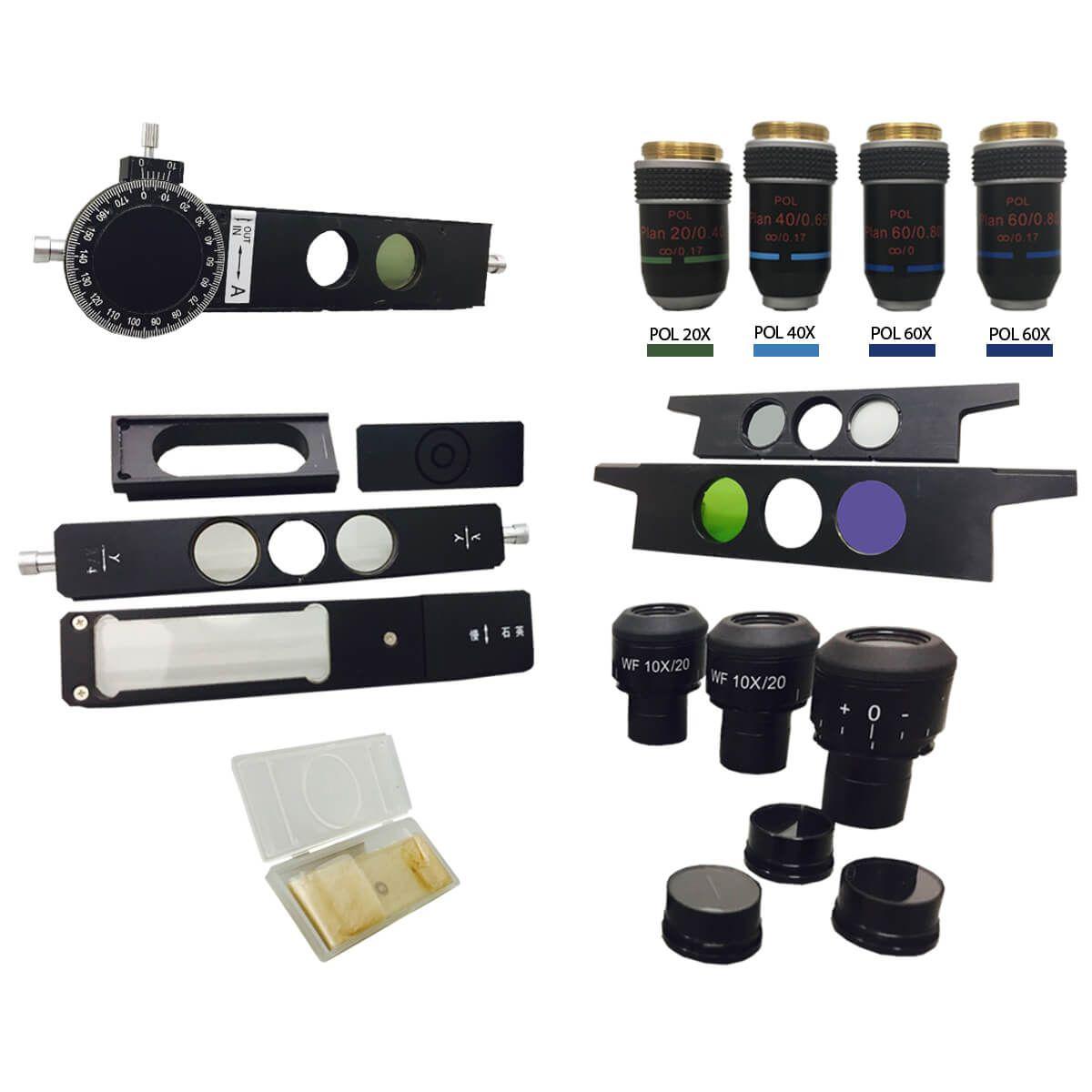 Microscópio Petrográfico Trinocular 40 até 600x, Objetiva Plana Cromática de Polarização Infinita, Iluminação Transmitida E Refletida