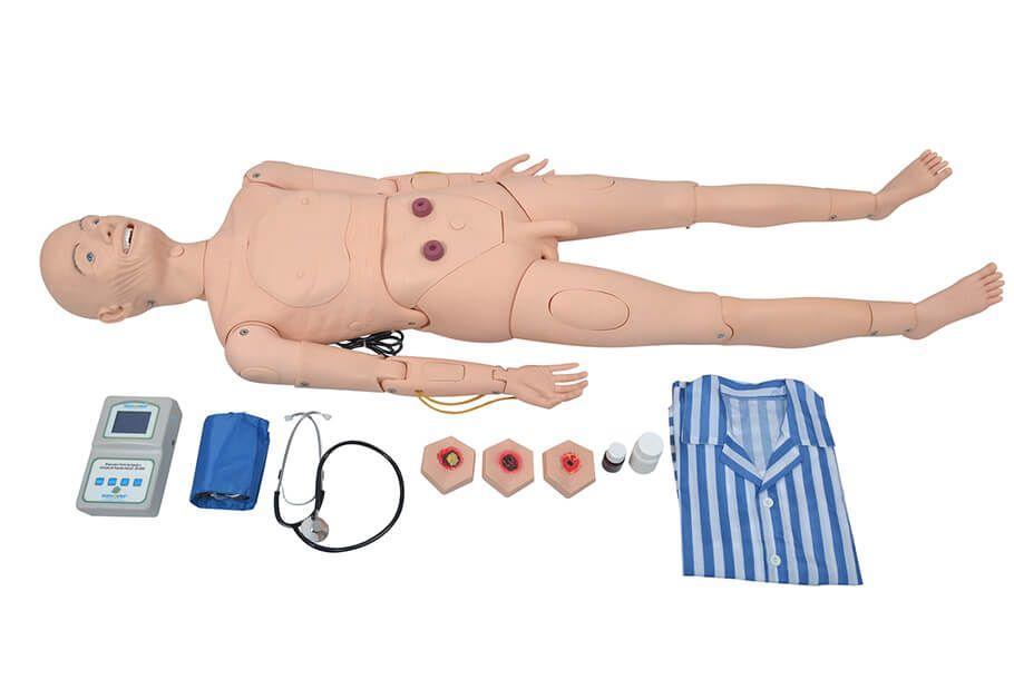 Simul. Manequim Avançado p/ Cuidados Geriátrico Masculino c/ Órgãos Interno