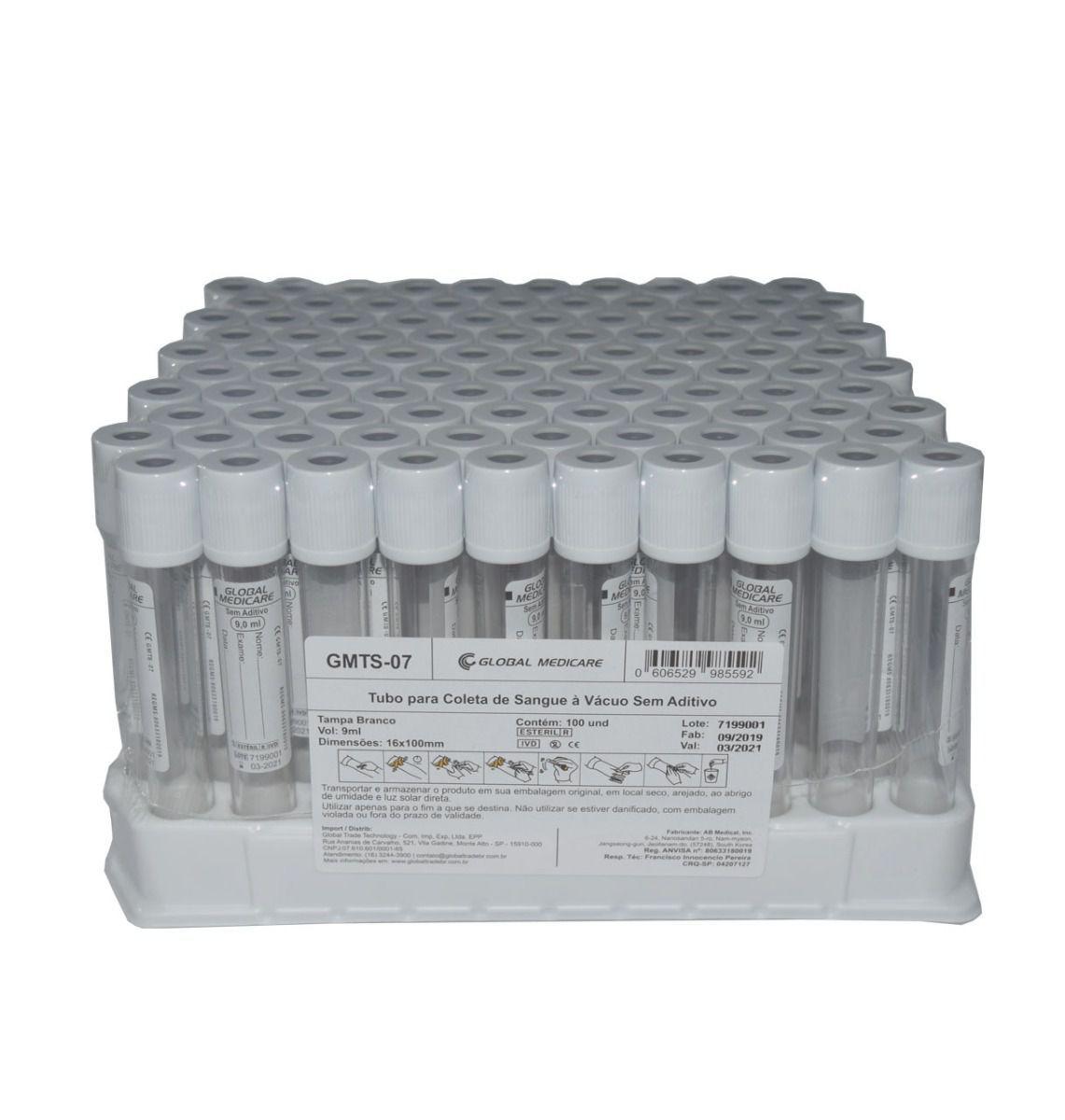 Tubo de Coleta de Sangue à Vácuo sem Aditivo 9,0ml - 100 Unidades